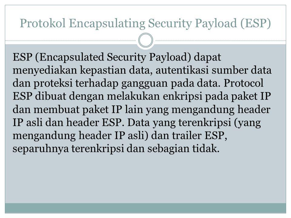 Protokol Encapsulating Security Payload (ESP) ESP (Encapsulated Security Payload) dapat menyediakan kepastian data, autentikasi sumber data dan protek