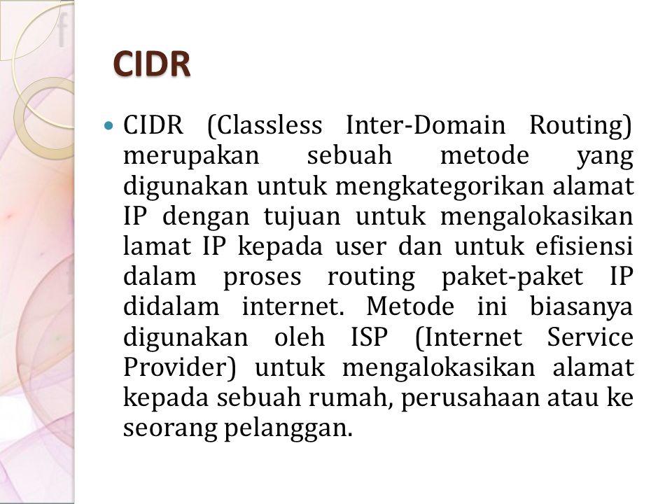 CIDR CIDR (Classless Inter-Domain Routing) merupakan sebuah metode yang digunakan untuk mengkategorikan alamat IP dengan tujuan untuk mengalokasikan l