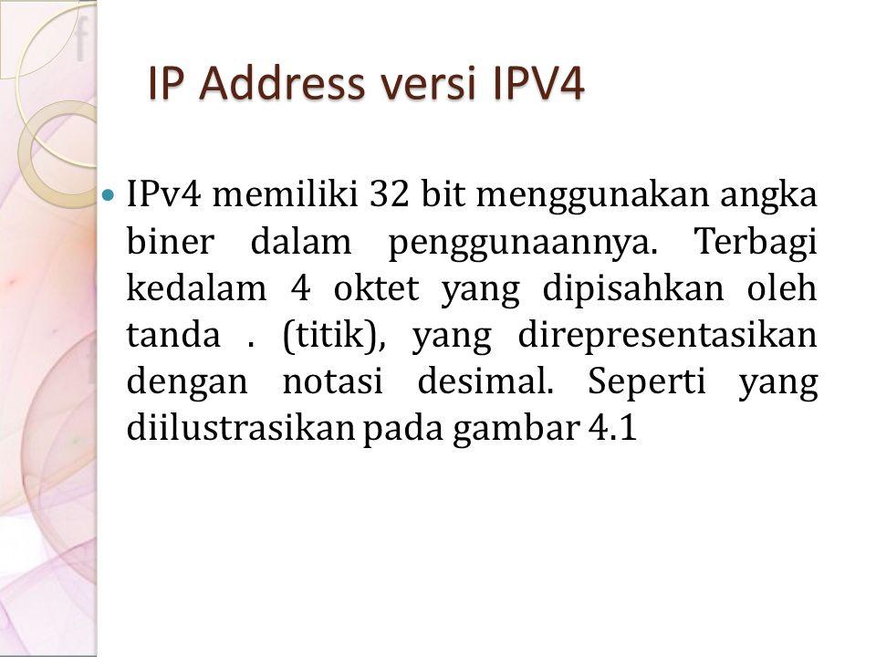 IP Address versi IPV4 IPv4 memiliki 32 bit menggunakan angka biner dalam penggunaannya. Terbagi kedalam 4 oktet yang dipisahkan oleh tanda. (titik), y