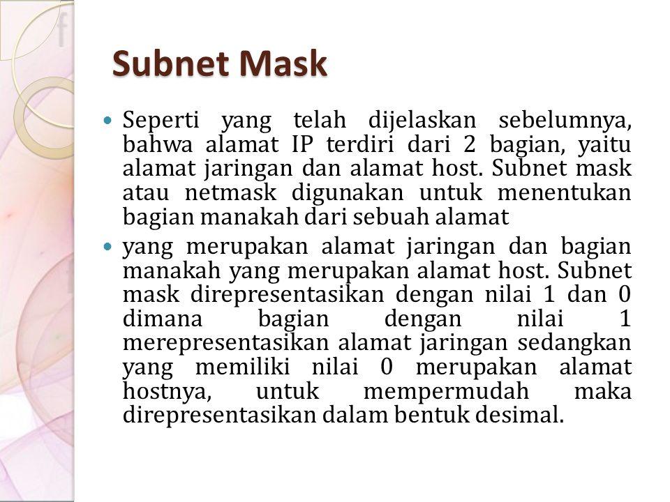 Subnet Mask Seperti yang telah dijelaskan sebelumnya, bahwa alamat IP terdiri dari 2 bagian, yaitu alamat jaringan dan alamat host. Subnet mask atau n