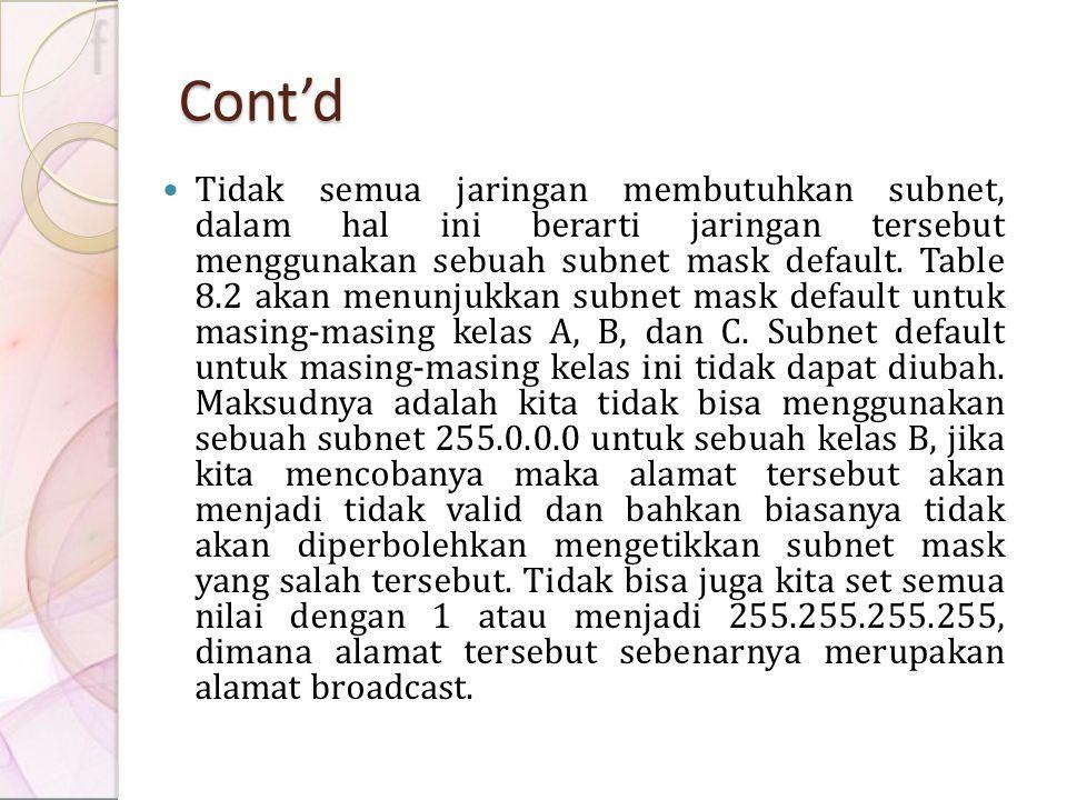 Cont'd Tidak semua jaringan membutuhkan subnet, dalam hal ini berarti jaringan tersebut menggunakan sebuah subnet mask default. Table 8.2 akan menunju