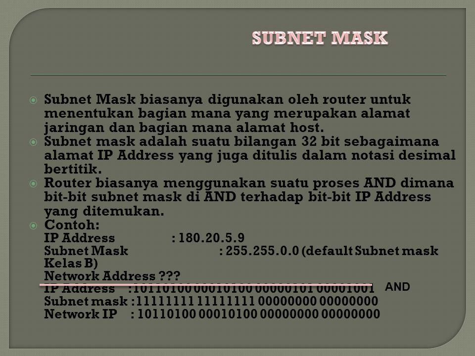  Subnet Mask biasanya digunakan oleh router untuk menentukan bagian mana yang merupakan alamat jaringan dan bagian mana alamat host.
