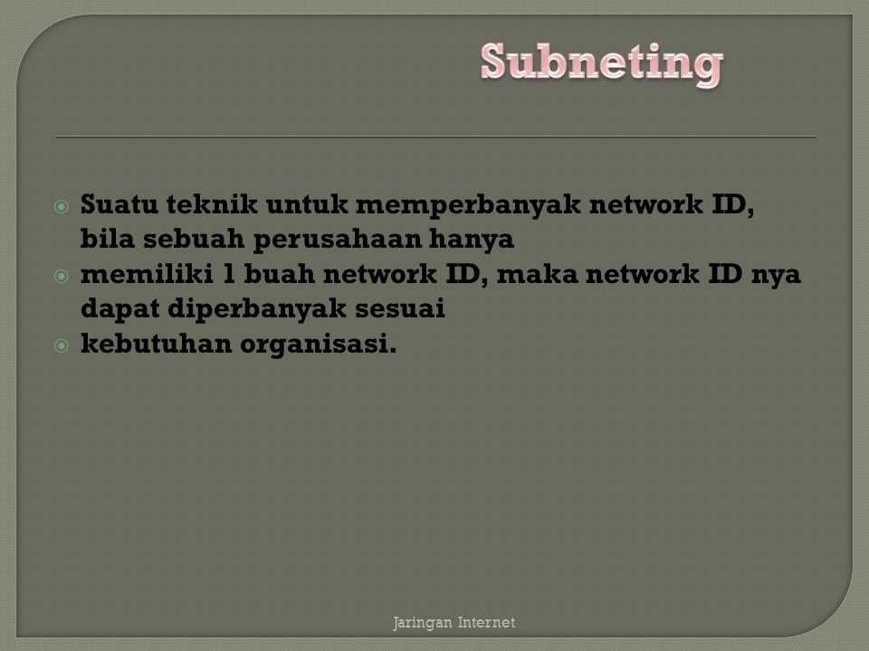  Suatu teknik untuk memperbanyak network ID, bila sebuah perusahaan hanya  memiliki 1 buah network ID, maka network ID nya dapat diperbanyak sesuai  kebutuhan organisasi.