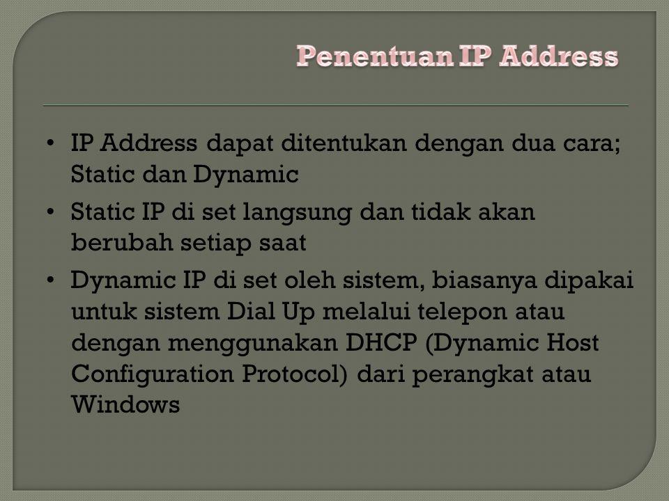 IP Address dapat ditentukan dengan dua cara; Static dan Dynamic Static IP di set langsung dan tidak akan berubah setiap saat Dynamic IP di set oleh sistem, biasanya dipakai untuk sistem Dial Up melalui telepon atau dengan menggunakan DHCP (Dynamic Host Configuration Protocol) dari perangkat atau Windows