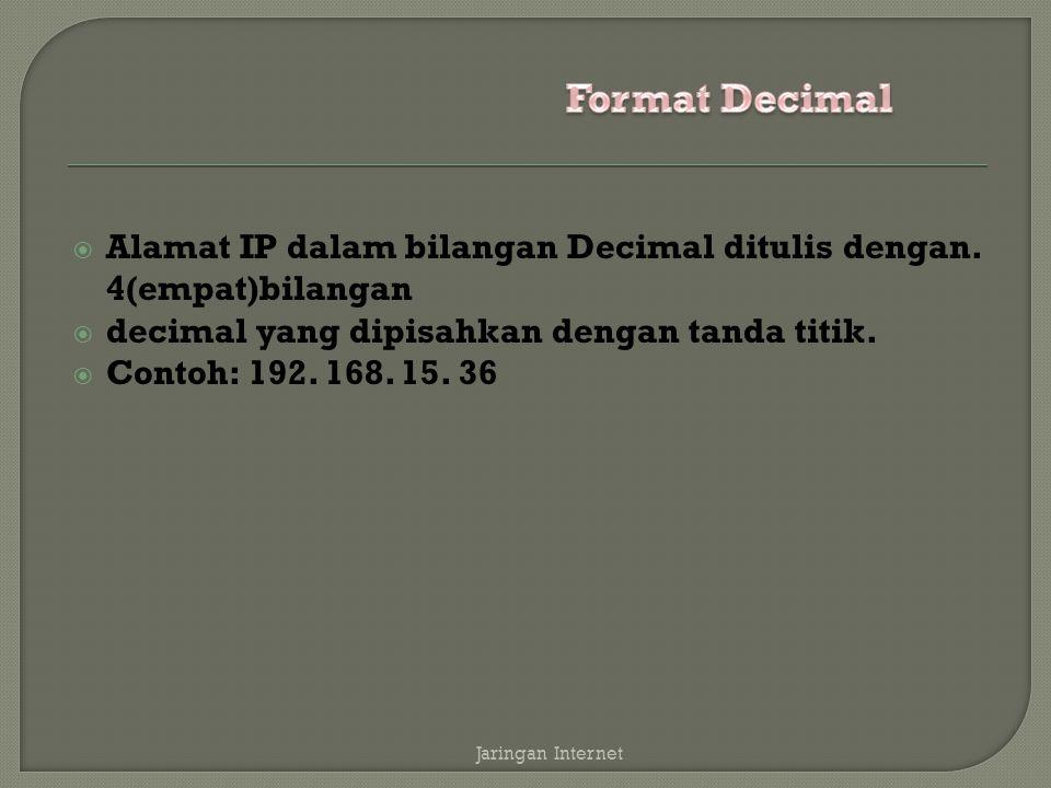  Alamat IP dalam bilangan Decimal ditulis dengan. 4(empat)bilangan  decimal yang dipisahkan dengan tanda titik.  Contoh: 192. 168. 15. 36 Jaringan