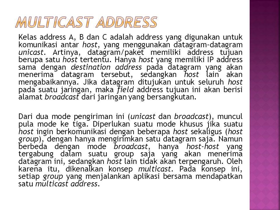 Address ini digunakan untuk mengirim/menerima informasi yang harus diketahui oleh seluruh host yang ada pada suatu network. Seperti diketahui, setiap