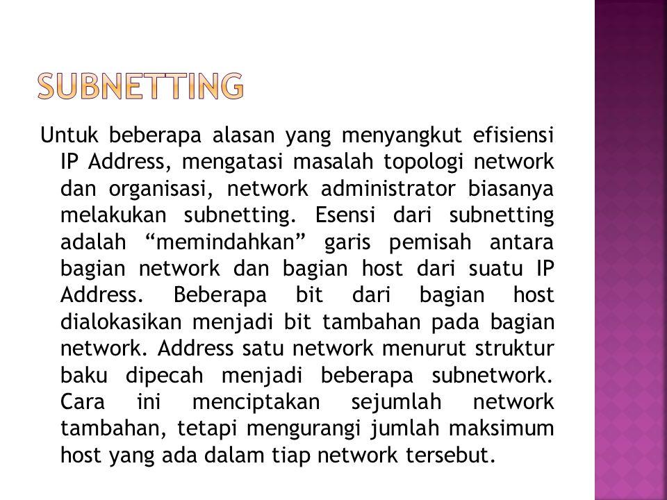  Network ID tidak boleh sama dengan 127 Network ID 127 secara default digunakan sebagai alamat loopback yakni IP address yang digunakan oleh suatu ko