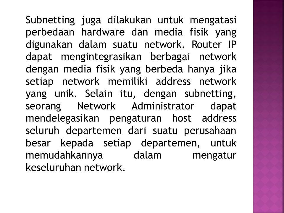 Untuk beberapa alasan yang menyangkut efisiensi IP Address, mengatasi masalah topologi network dan organisasi, network administrator biasanya melakuka