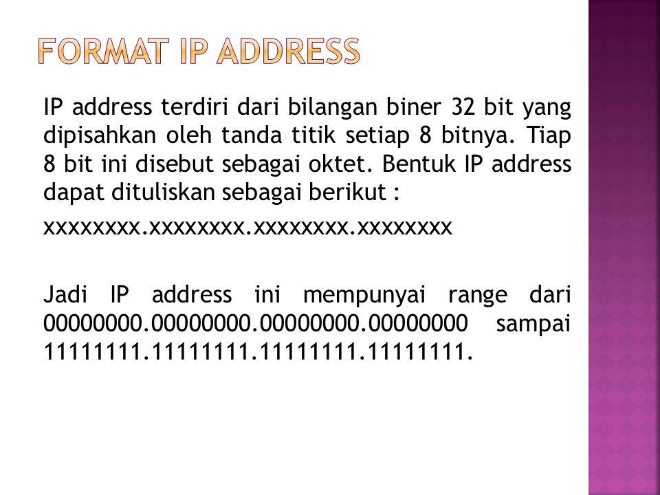 IP address terdiri dari bilangan biner 32 bit yang dipisahkan oleh tanda titik setiap 8 bitnya.