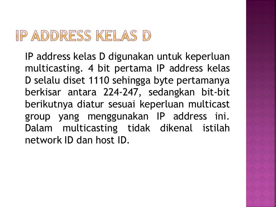 IP address kelas D digunakan untuk keperluan multicasting.