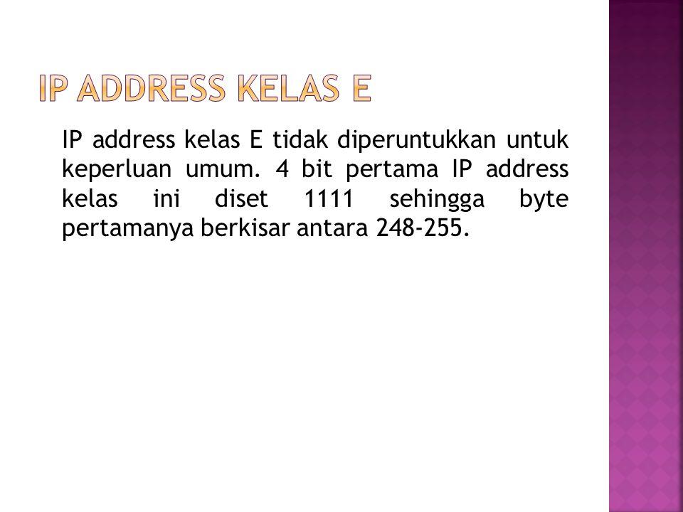 IP address kelas D digunakan untuk keperluan multicasting. 4 bit pertama IP address kelas D selalu diset 1110 sehingga byte pertamanya berkisar antara