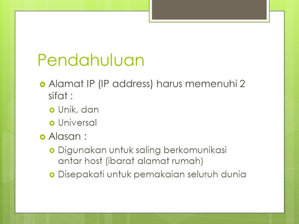 Pendahuluan  Alamat IP (IP address) harus memenuhi 2 sifat :  Unik, dan  Universal  Alasan :  Digunakan untuk saling berkomunikasi antar host (ib