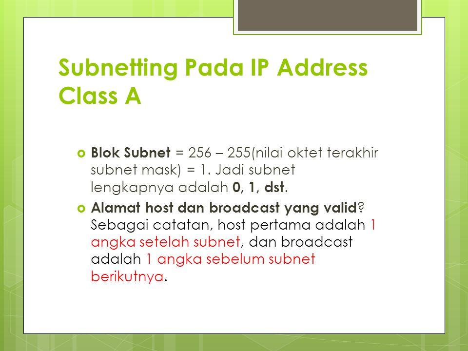 Subnetting Pada IP Address Class A  Blok Subnet = 256 – 255(nilai oktet terakhir subnet mask) = 1. Jadi subnet lengkapnya adalah 0, 1, dst.  Alamat