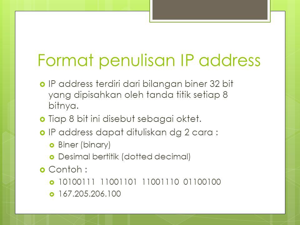Format penulisan IP address  IP address terdiri dari bilangan biner 32 bit yang dipisahkan oleh tanda titik setiap 8 bitnya.  Tiap 8 bit ini disebut