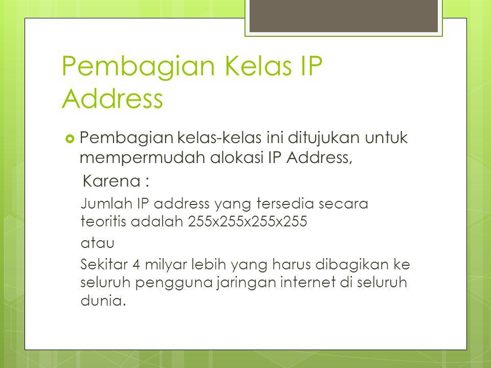 Pembagian Kelas IP Address  Pembagian kelas-kelas ini ditujukan untuk mempermudah alokasi IP Address, Karena : Jumlah IP address yang tersedia secara