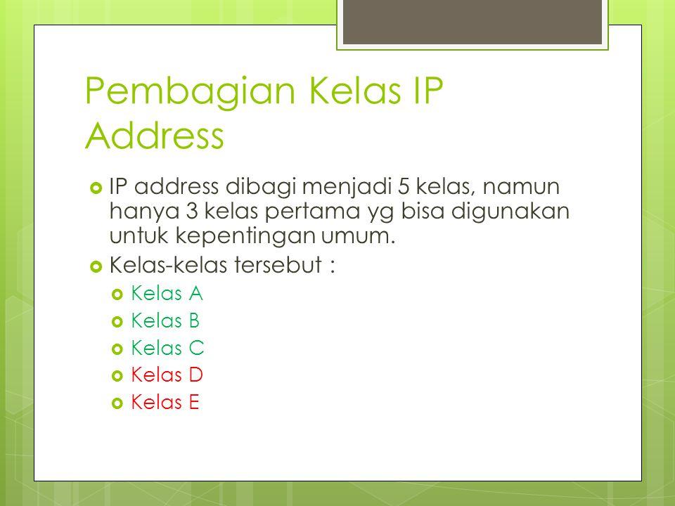 Pembagian Kelas IP Address  IP address dibagi menjadi 5 kelas, namun hanya 3 kelas pertama yg bisa digunakan untuk kepentingan umum.  Kelas-kelas te