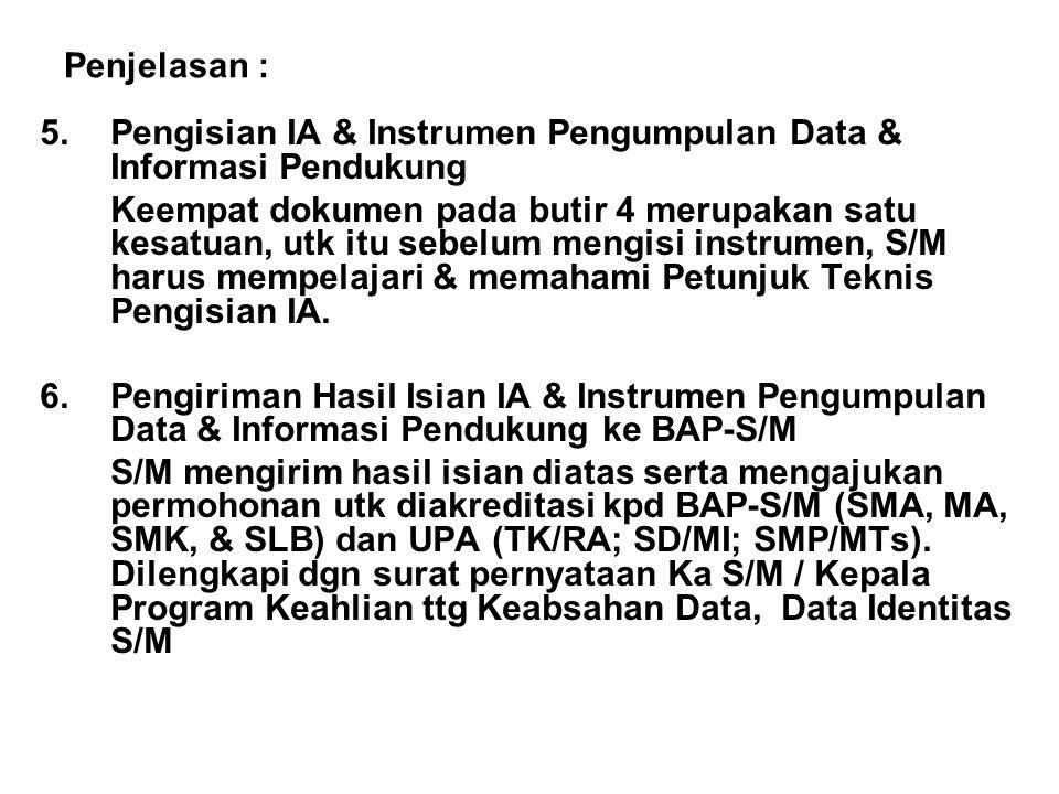 Penjelasan : 5.Pengisian IA & Instrumen Pengumpulan Data & Informasi Pendukung Keempat dokumen pada butir 4 merupakan satu kesatuan, utk itu sebelum m