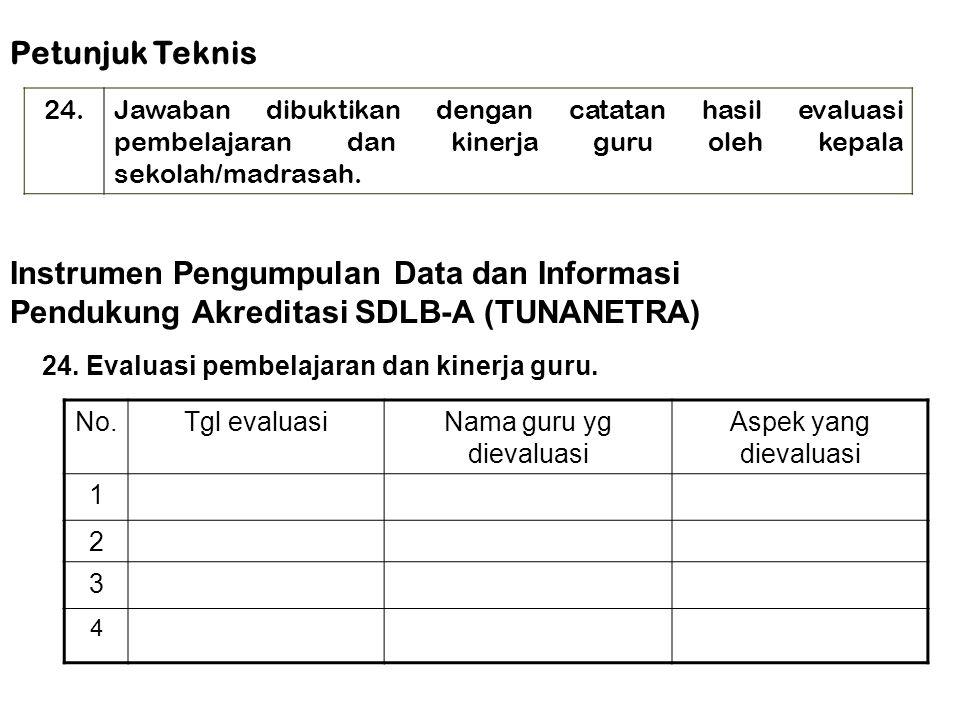 24. Evaluasi pembelajaran dan kinerja guru. Instrumen Pengumpulan Data dan Informasi Pendukung Akreditasi SDLB-A (TUNANETRA) Petunjuk Teknis 24.Jawaba