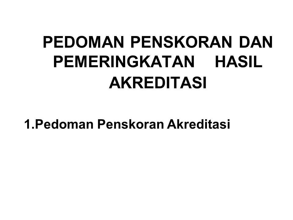 PEDOMAN PENSKORAN DAN PEMERINGKATAN HASIL AKREDITASI 1.Pedoman Penskoran Akreditasi