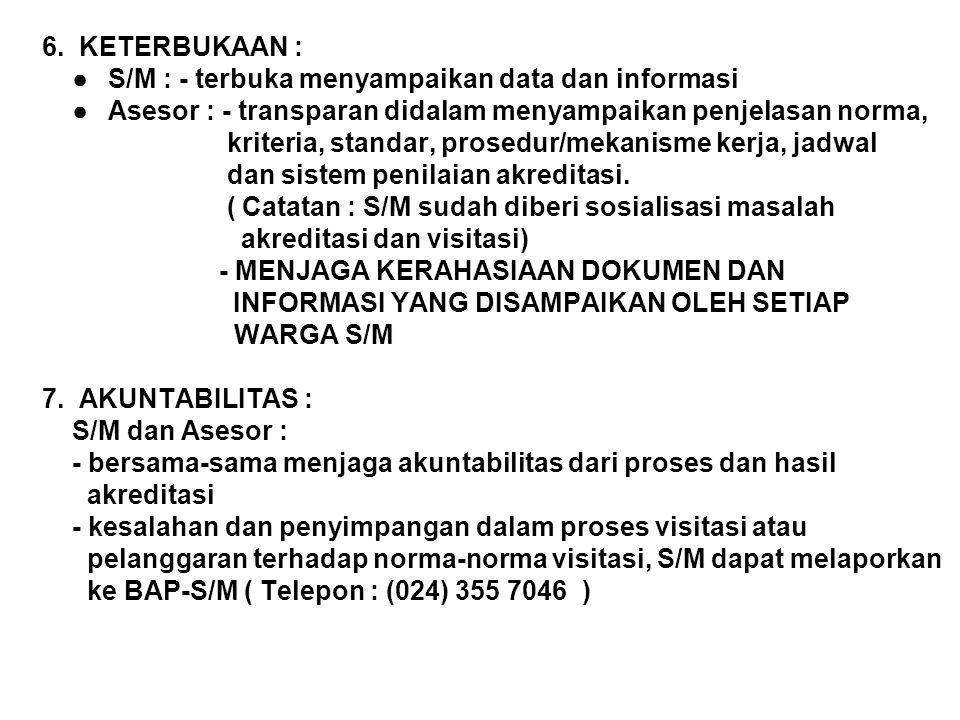 6. KETERBUKAAN : ●S/M : - terbuka menyampaikan data dan informasi ●Asesor : - transparan didalam menyampaikan penjelasan norma, kriteria, standar, pro