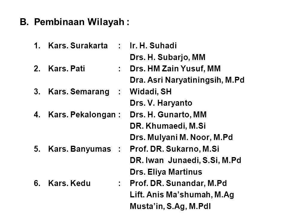 B.Pembinaan Wilayah : 1.Kars. Surakarta:Ir. H. Suhadi Drs. H. Subarjo, MM 2.Kars. Pati:Drs. HM Zain Yusuf, MM Dra. Asri Naryatiningsih, M.Pd 3.Kars. S