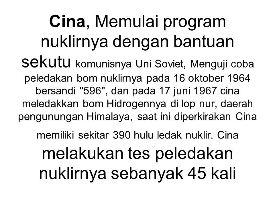 Cina, Memulai program nuklirnya dengan bantuan sekutu komunisnya Uni Soviet, Menguji coba peledakan bom nuklirnya pada 16 oktober 1964 bersandi
