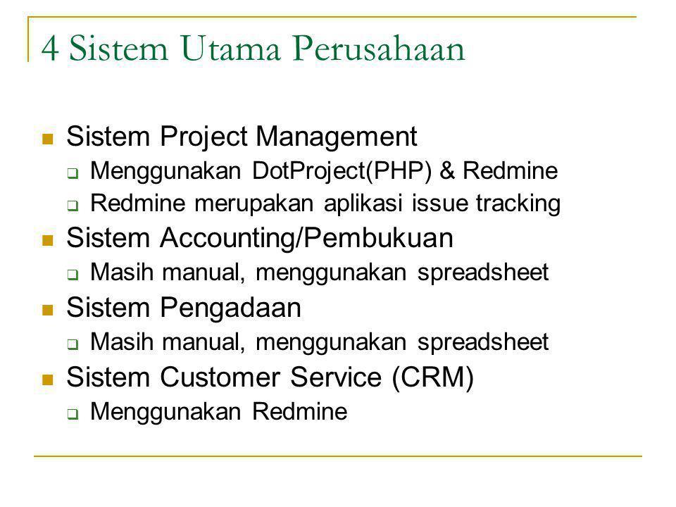 4 Sistem Utama Perusahaan Sistem Project Management  Menggunakan DotProject(PHP) & Redmine  Redmine merupakan aplikasi issue tracking Sistem Account