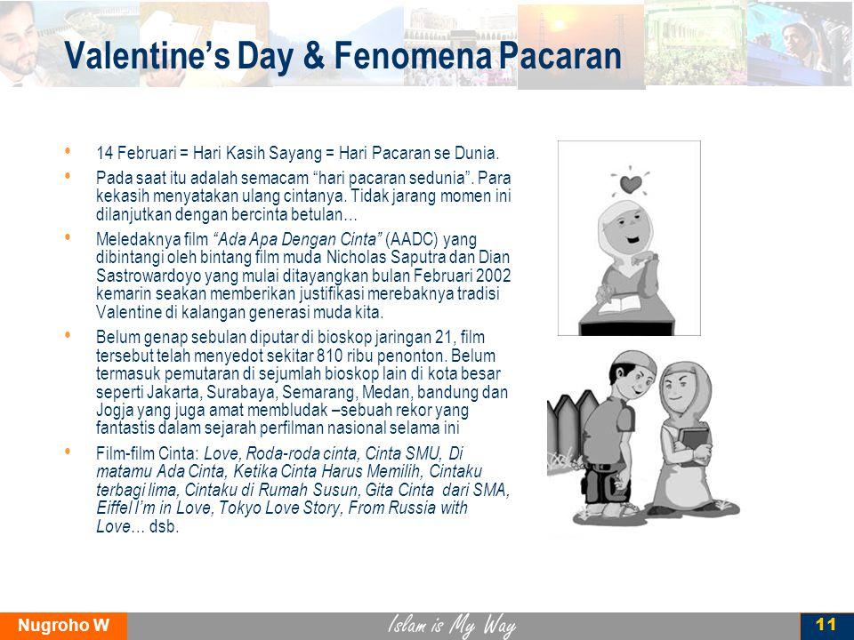 Islam is My Way Nugroho W 12 Gaya Pacaran Pelajar Jakarta Survei Pusat Kesehatan Masyarakat UI, 170 SMA di Jakarta, 2006 95%hanya mengobrol 60%saling berpegangan 40%saling rangkulan 35%siswa: tidak perlu perjaka 30%saling pelukan 25%seks oke aja sih 20%saling ciuman 10%siswi: tidak perlu perawan 10%Saling meraba 5%*seks dengan pacar *Versi lain : 6-20%; Dr Boyke Dian N