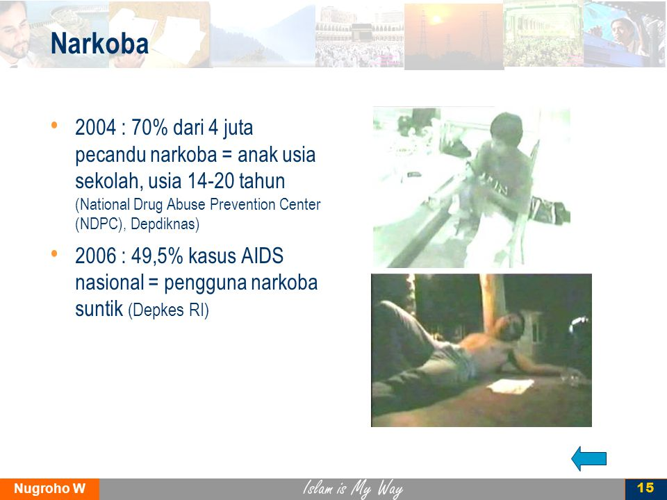 Islam is My Way Nugroho W 15 Narkoba 2004 : 70% dari 4 juta pecandu narkoba = anak usia sekolah, usia 14-20 tahun (National Drug Abuse Prevention Cent
