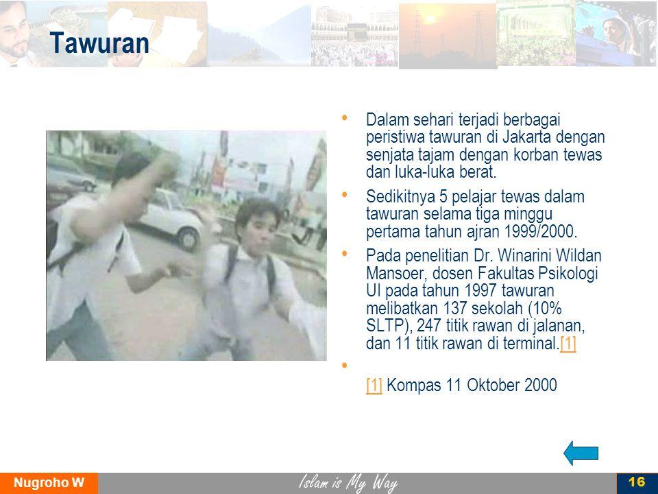 Islam is My Way Nugroho W 16 Tawuran Dalam sehari terjadi berbagai peristiwa tawuran di Jakarta dengan senjata tajam dengan korban tewas dan luka-luka