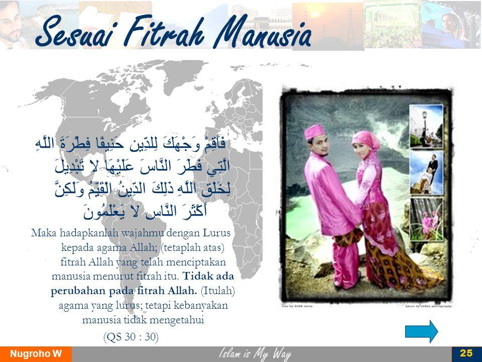 Islam is My Way Nugroho W 25 Sesuai Fitrah Manusia فَأَقِمْ وَجْهَكَ لِلدِّينِ حَنِيفًا فِطْرَةَ اللَّهِ الَّتِي فَطَرَ النَّاسَ عَلَيْهَا لا تَبْدِيل