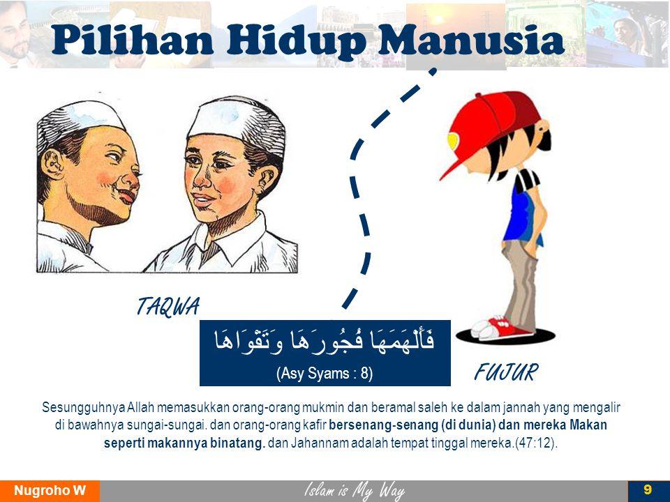 Islam is My Way Nugroho W 9 Pilihan Hidup Manusia TAQWA FUJUR Sesungguhnya Allah memasukkan orang-orang mukmin dan beramal saleh ke dalam jannah yang