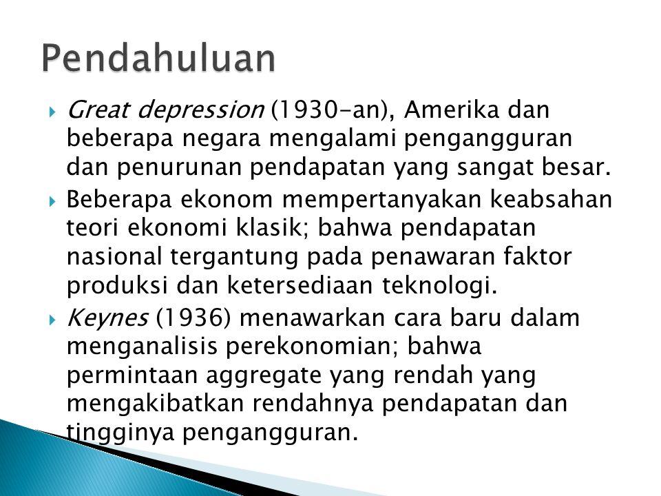  Great depression (1930-an), Amerika dan beberapa negara mengalami pengangguran dan penurunan pendapatan yang sangat besar.