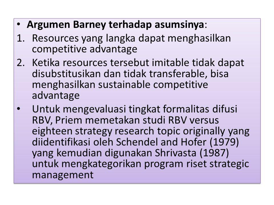Argumen Barney terhadap asumsinya: 1.Resources yang langka dapat menghasilkan competitive advantage 2.Ketika resources tersebut imitable tidak dapat d