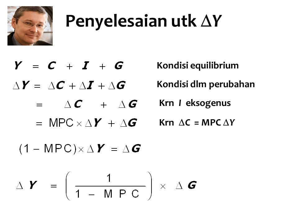 Penyelesaian utk  Y Kondisi equilibrium Kondisi dlm perubahan Krn I eksogenus Krn  C = MPC  Y