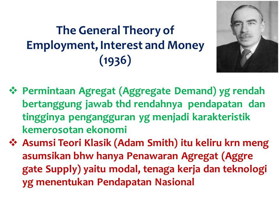 The General Theory of Employment, Interest and Money (1936)  Permintaan Agregat (Aggregate Demand) yg rendah bertanggung jawab thd rendahnya pendapat
