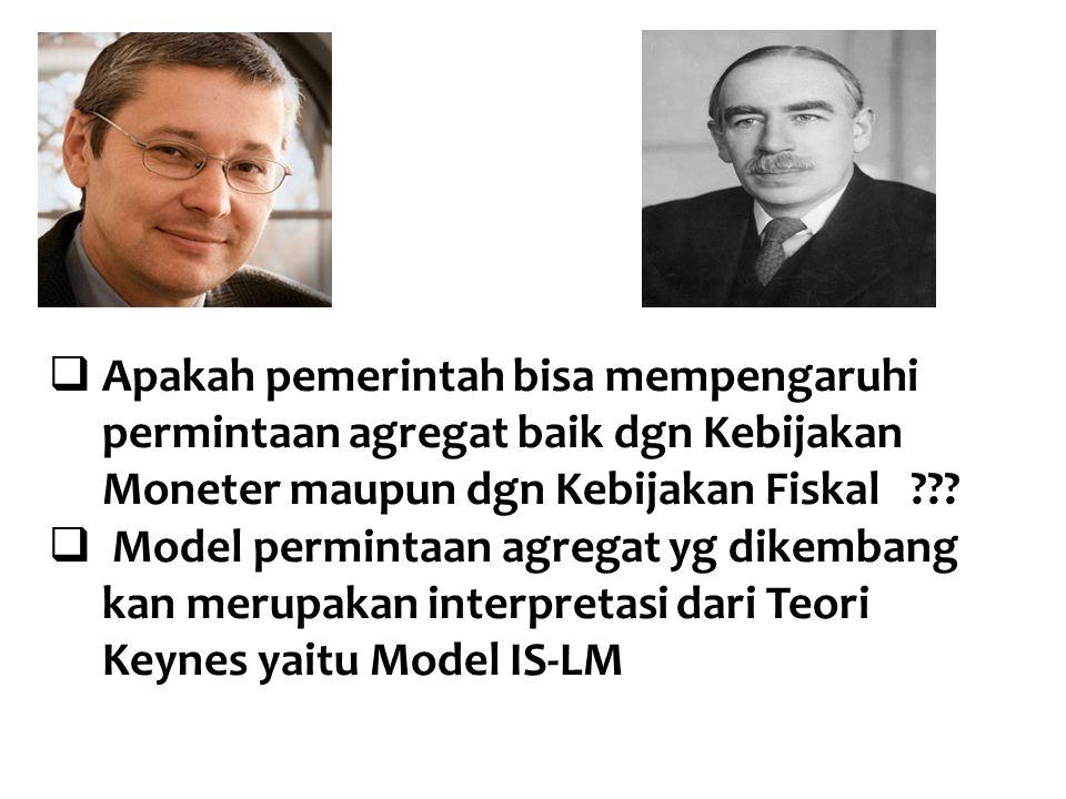  Apakah pemerintah bisa mempengaruhi permintaan agregat baik dgn Kebijakan Moneter maupun dgn Kebijakan Fiskal ???  Model permintaan agregat yg dike