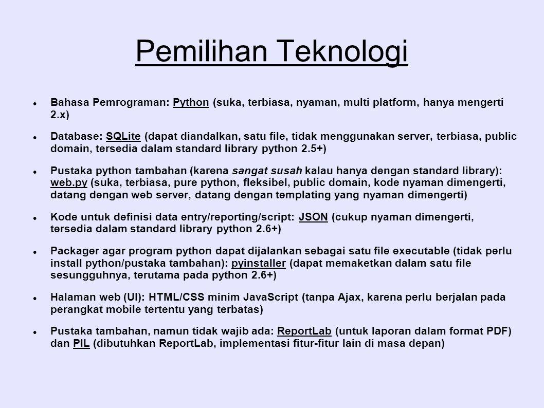 Pemilihan Teknologi Bahasa Pemrograman: Python (suka, terbiasa, nyaman, multi platform, hanya mengerti 2.x) Database: SQLite (dapat diandalkan, satu f