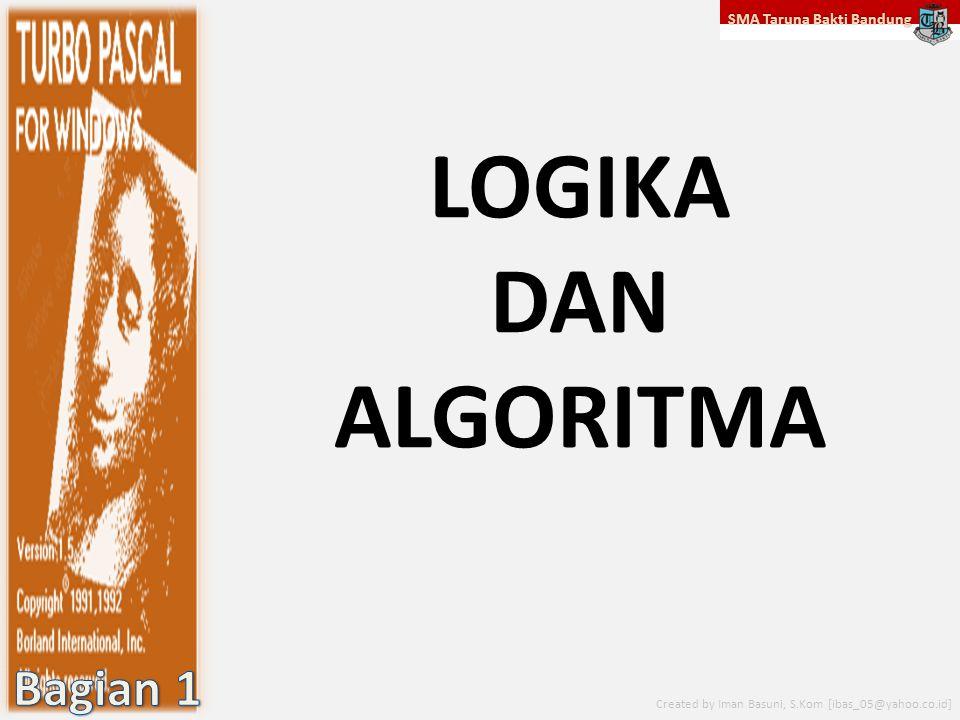 SMA Taruna Bakti Bandung Created by Iman Basuni, S.Kom [ibas_05@yahoo.co.id] P ENGERTIAN LOGIKA Logika berasal dari bahasa Yunani yaitu LOGOS yang B ERARTI I LMU.