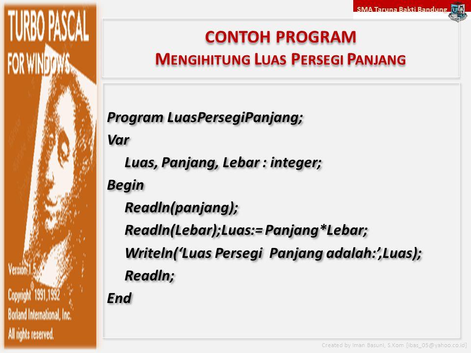 SMA Taruna Bakti Bandung Created by Iman Basuni, S.Kom [ibas_05@yahoo.co.id] CONTOH PROGRAM M ENGIHITUNG L UAS P ERSEGI P ANJANG Program LuasPersegiPa