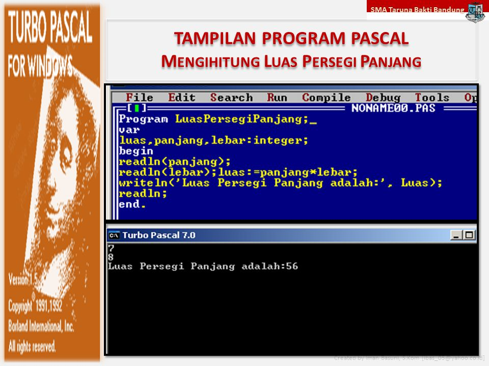 SMA Taruna Bakti Bandung Created by Iman Basuni, S.Kom [ibas_05@yahoo.co.id] TAMPILAN PROGRAM PASCAL M ENGIHITUNG L UAS P ERSEGI P ANJANG
