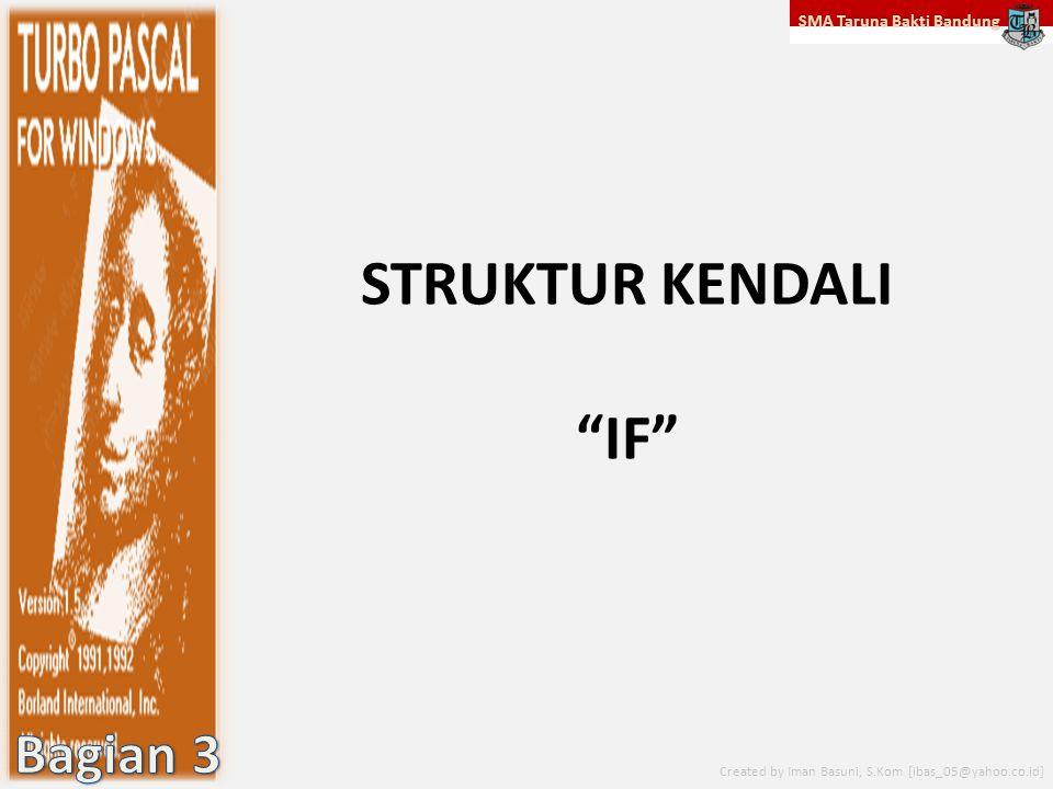 "SMA Taruna Bakti Bandung Created by Iman Basuni, S.Kom [ibas_05@yahoo.co.id] STRUKTUR KENDALI ""IF"""