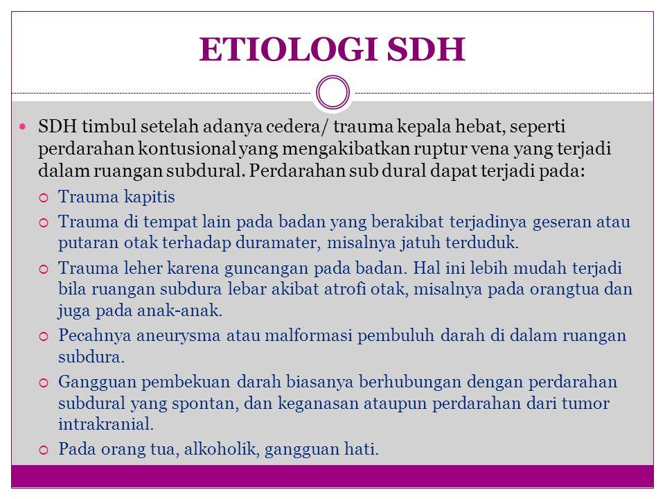 ETIOLOGI SDH SDH timbul setelah adanya cedera/ trauma kepala hebat, seperti perdarahan kontusional yang mengakibatkan ruptur vena yang terjadi dalam ruangan subdural.
