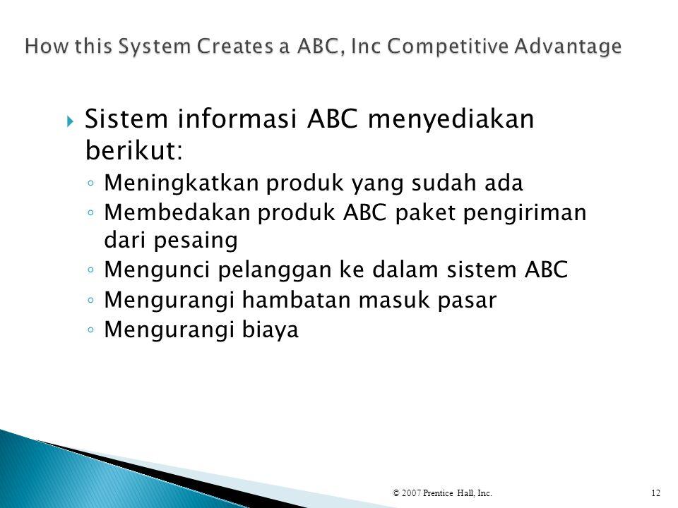  Sistem informasi ABC menyediakan berikut: ◦ Meningkatkan produk yang sudah ada ◦ Membedakan produk ABC paket pengiriman dari pesaing ◦ Mengunci pela