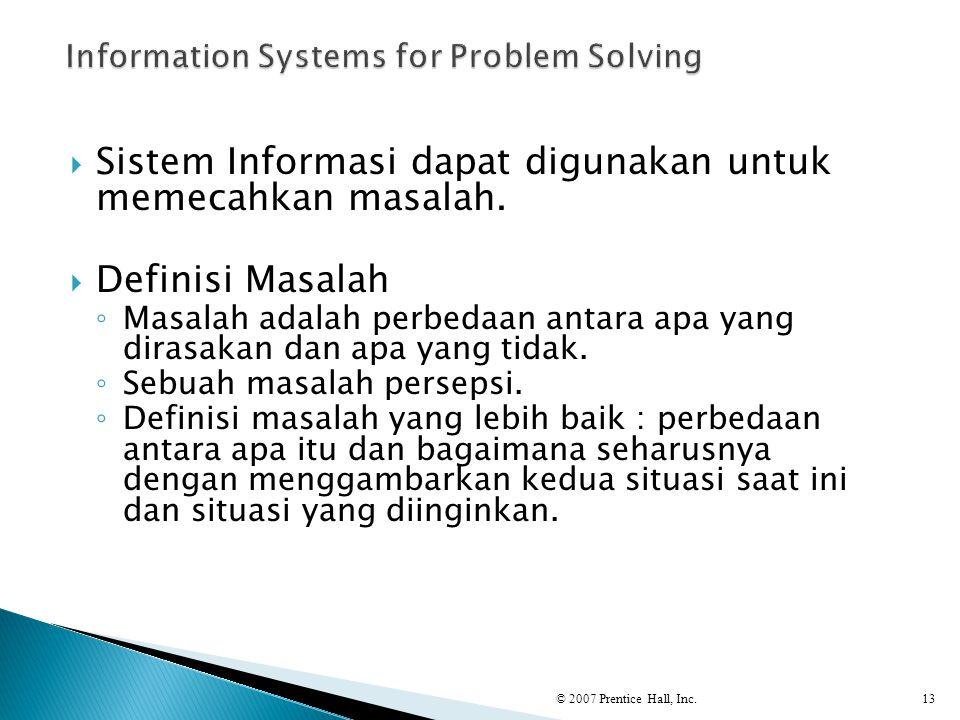  Sistem Informasi dapat digunakan untuk memecahkan masalah.  Definisi Masalah ◦ Masalah adalah perbedaan antara apa yang dirasakan dan apa yang tida