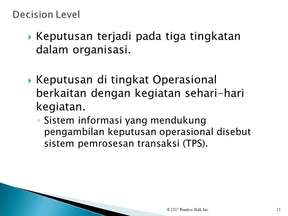  Keputusan terjadi pada tiga tingkatan dalam organisasi.  Keputusan di tingkat Operasional berkaitan dengan kegiatan sehari-hari kegiatan. ◦ Sistem
