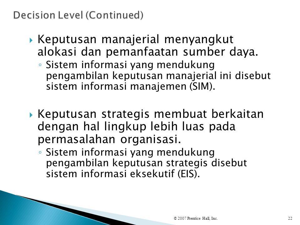  Keputusan manajerial menyangkut alokasi dan pemanfaatan sumber daya. ◦ Sistem informasi yang mendukung pengambilan keputusan manajerial ini disebut