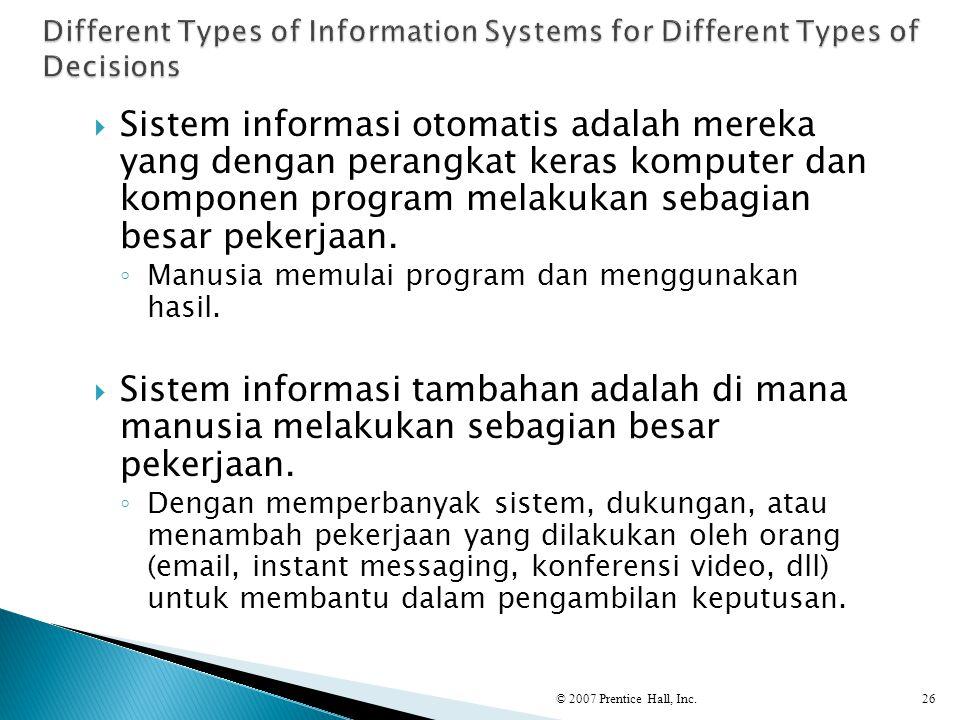  Sistem informasi otomatis adalah mereka yang dengan perangkat keras komputer dan komponen program melakukan sebagian besar pekerjaan. ◦ Manusia memu