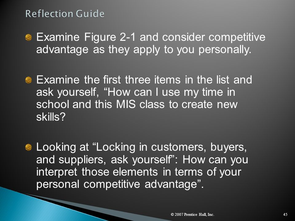 © 2007 Prentice Hall, Inc.45 Examine Figure 2-1 and consider competitive advantage as they apply to you personally. Examine the first three items in t