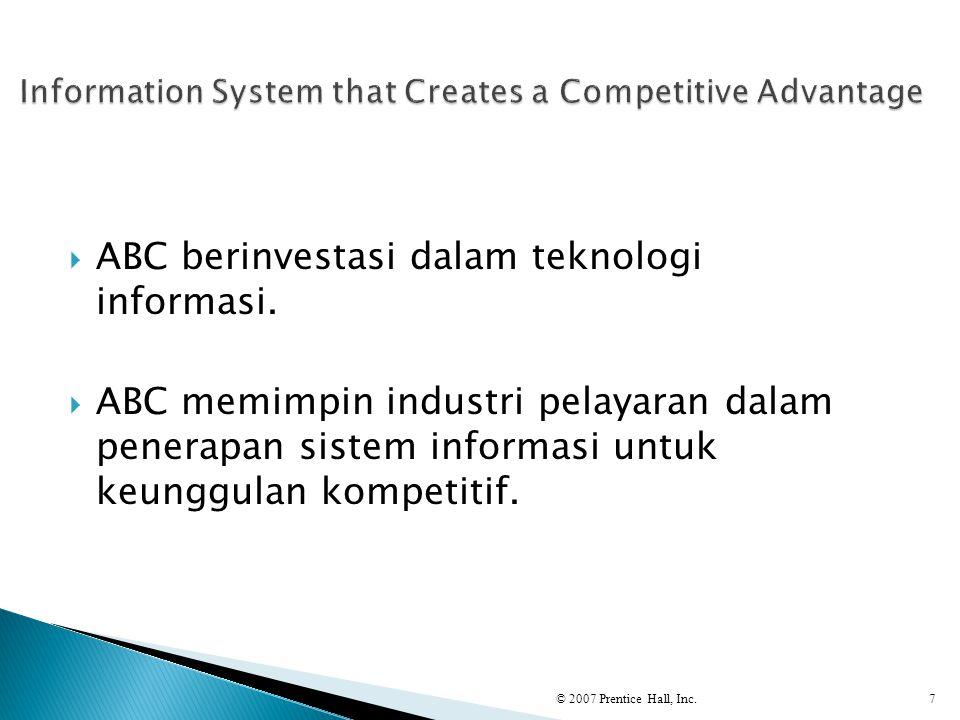  ABC berinvestasi dalam teknologi informasi.  ABC memimpin industri pelayaran dalam penerapan sistem informasi untuk keunggulan kompetitif. © 2007 P